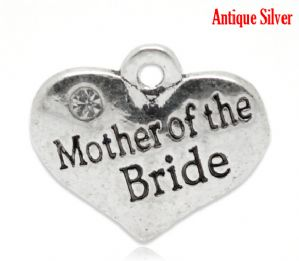 "5 Antique Silver Heart with Clear Rhinestone ""Mother of the Bride"" Charm Pendants 16x14mm"